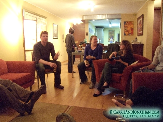 Having a party at our apartment in Quito, Ecuador
