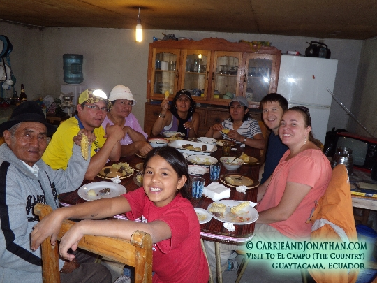 Carrie and Jonathan with Maribel's family in Guaytacama