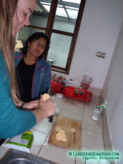 making chifles from green plantain in Ecuador