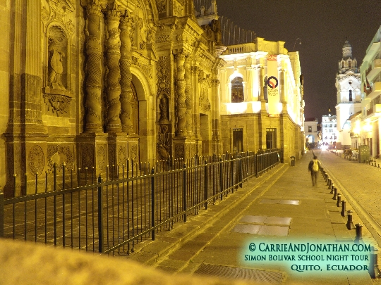 Night tour of Quito, Ecuador: church and national theater