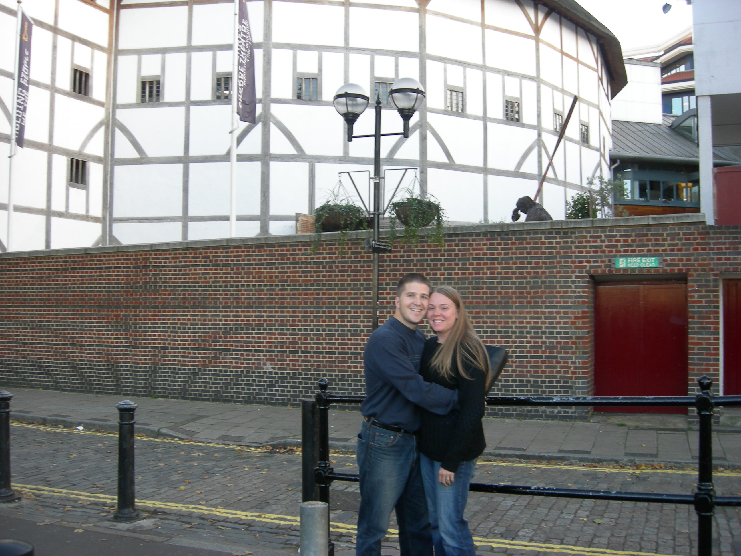 us in front of the Globe Theater in London