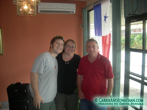 In David, Panama in the lobby of the Hotel Madrid with our friend Dan
